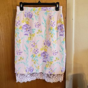 Vintage escada silk and lace pastel floral skirt